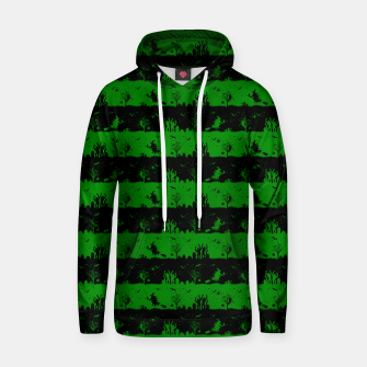 Alien Green and Black Halloween Nightmare Stripes  Cotton hoodie thumbnail image