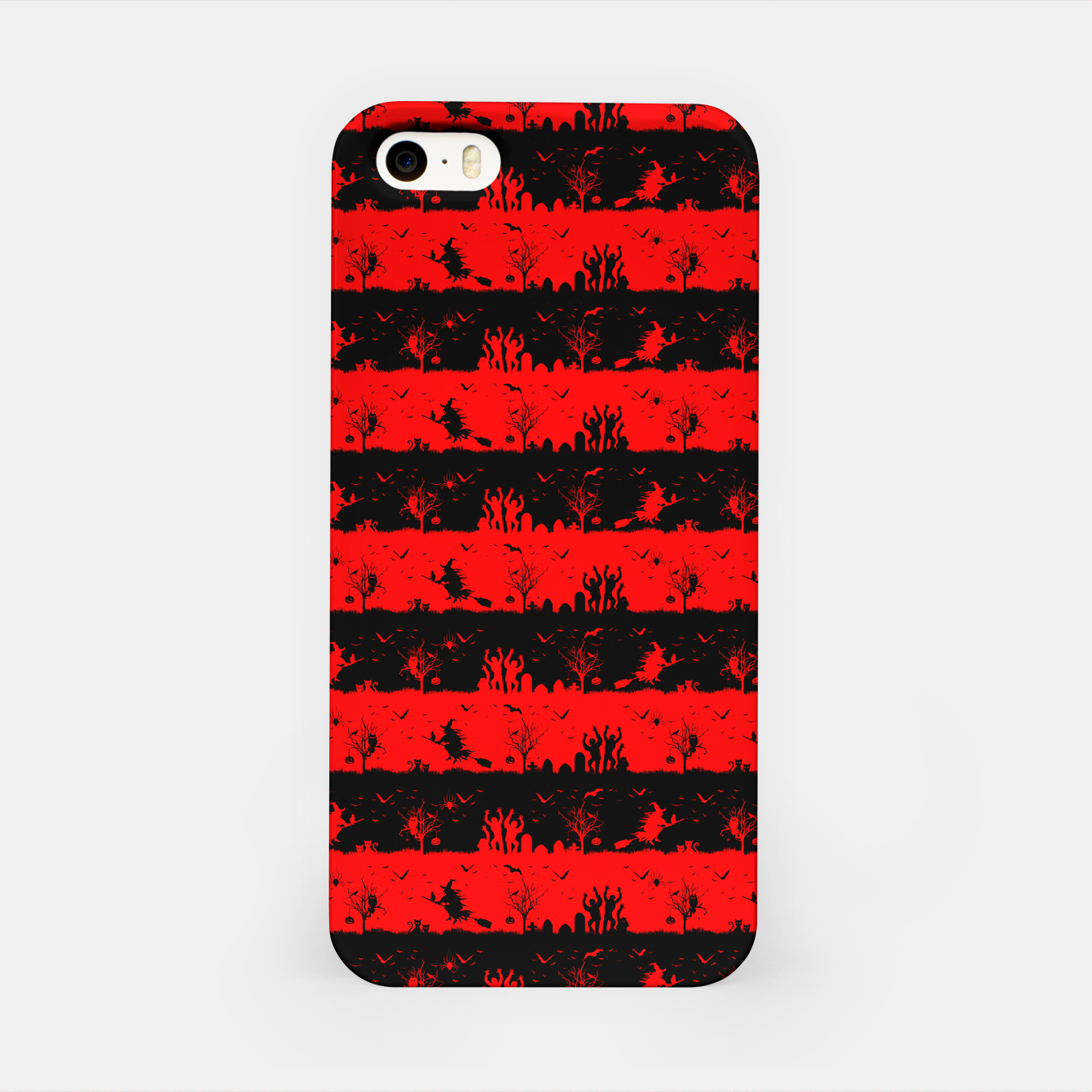 Image of Red Devil and Black Halloween Nightmare Stripes  iPhone Case - Live Heroes