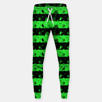 Monster Green and Black Halloween Nightmare Stripes  Cotton sweatpants thumbnail image