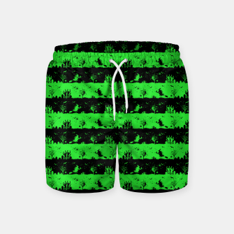Monster Green and Black Halloween Nightmare Stripes  Swim Shorts thumbnail image