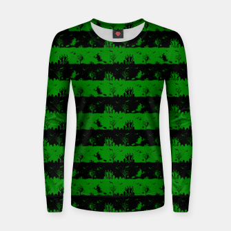 Alien Green and Black Halloween Nightmare Stripes  Woman cotton sweater thumbnail image