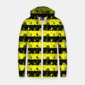 Cats Eye Yellow and Black Halloween Nightmare Stripes  Cotton zip up hoodie thumbnail image