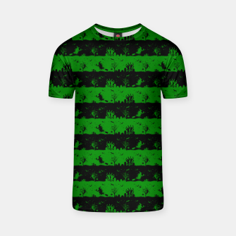 Alien Green and Black Halloween Nightmare Stripes  T-shirt thumbnail image