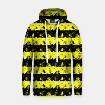 Cats Eye Yellow and Black Halloween Nightmare Stripes  Cotton hoodie thumbnail image