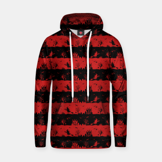Blood Red and Black Halloween Nightmare Stripes  Cotton hoodie thumbnail image