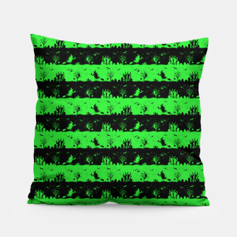 Monster Green and Black Halloween Nightmare Stripes  Pillow thumbnail image