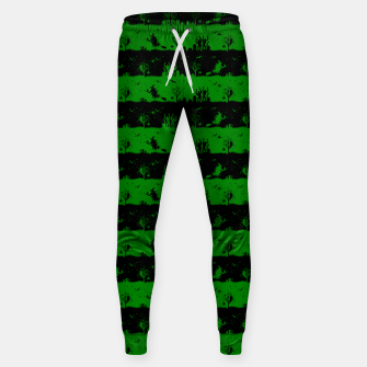 Alien Green and Black Halloween Nightmare Stripes  Cotton sweatpants thumbnail image