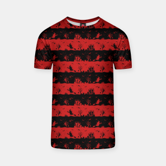 Blood Red and Black Halloween Nightmare Stripes  T-shirt thumbnail image