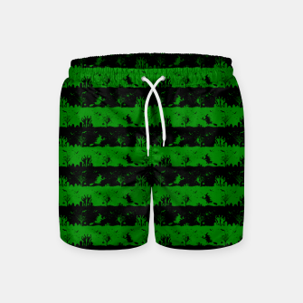 Alien Green and Black Halloween Nightmare Stripes  Swim Shorts thumbnail image