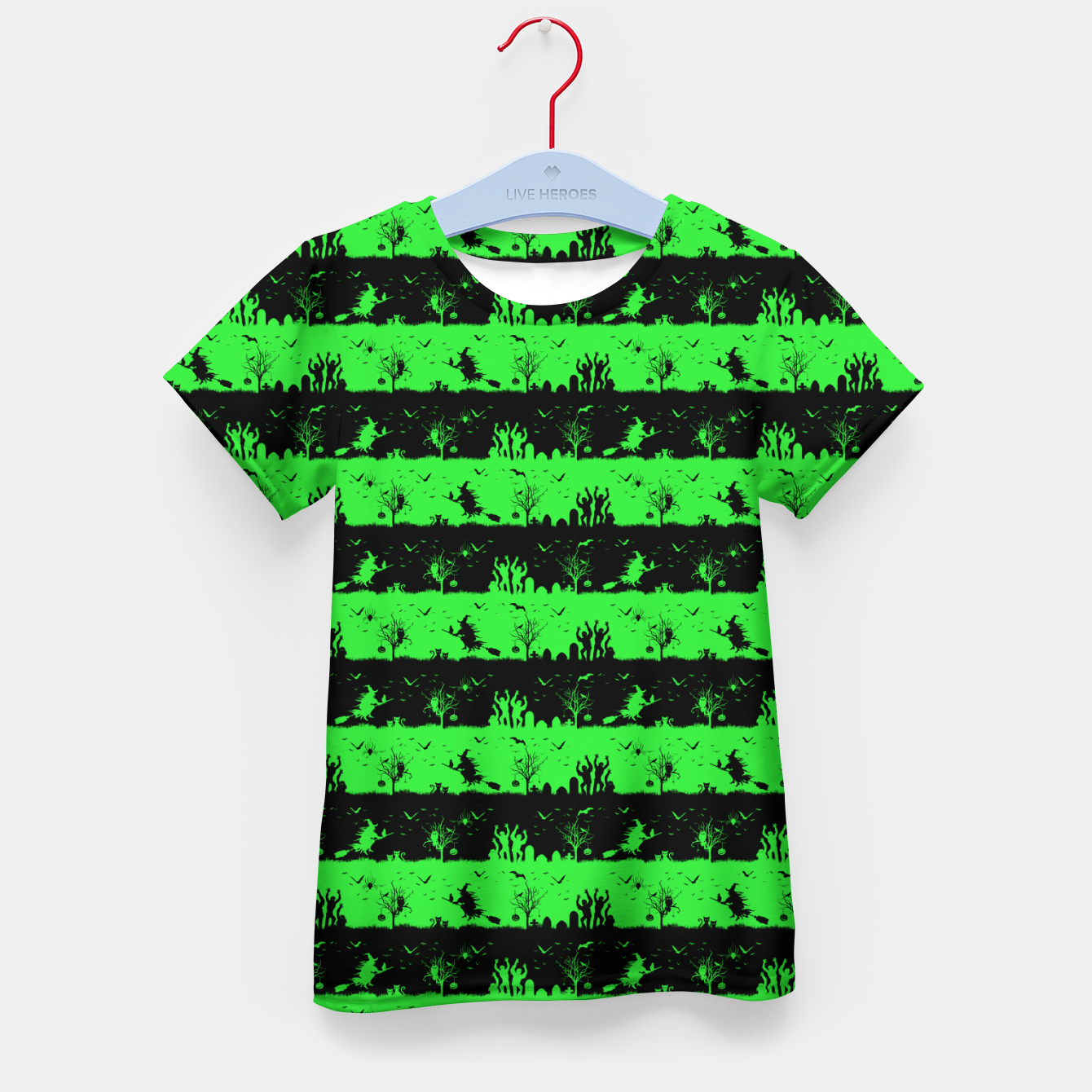 Image of Monster Green and Black Halloween Nightmare Stripes  Kid's t-shirt - Live Heroes
