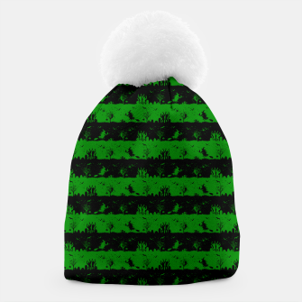 Alien Green and Black Halloween Nightmare Stripes  Beanie thumbnail image