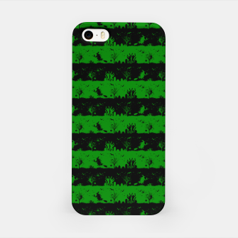 Alien Green and Black Halloween Nightmare Stripes  iPhone Case thumbnail image