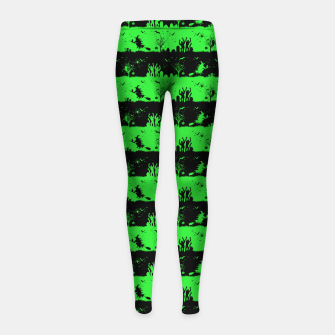 Monster Green and Black Halloween Nightmare Stripes  Girl's leggings thumbnail image