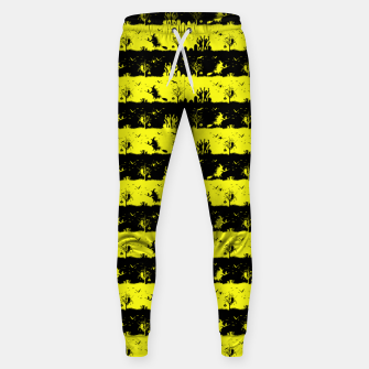 Cats Eye Yellow and Black Halloween Nightmare Stripes  Cotton sweatpants thumbnail image