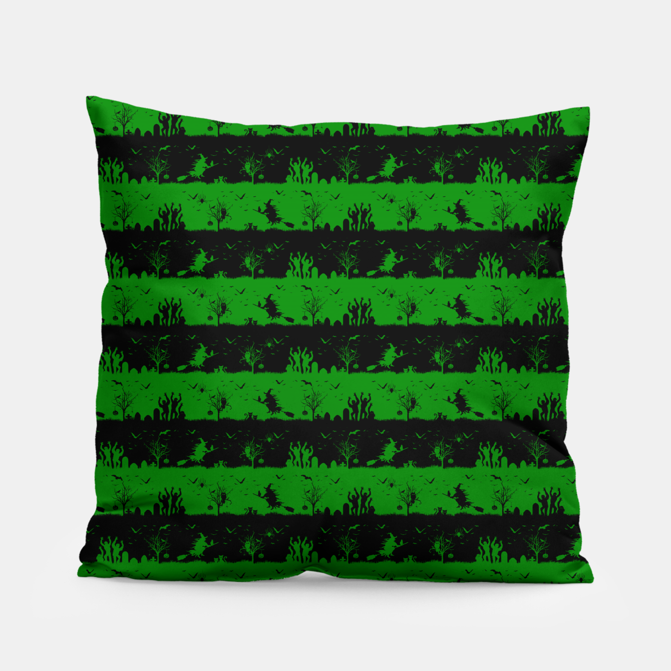 Image of Alien Green and Black Halloween Nightmare Stripes  Pillow - Live Heroes