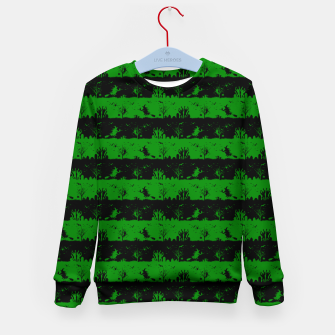 Alien Green and Black Halloween Nightmare Stripes  Kid's sweater thumbnail image