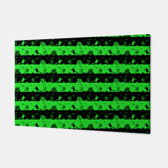 Monster Green and Black Halloween Nightmare Stripes  Canvas thumbnail image