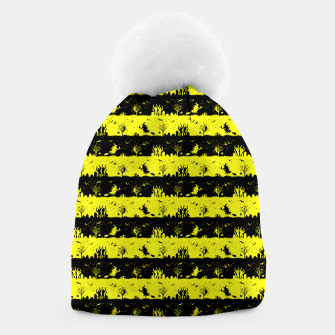 Cats Eye Yellow and Black Halloween Nightmare Stripes  Beanie thumbnail image