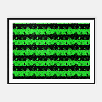Monster Green and Black Halloween Nightmare Stripes  Framed poster thumbnail image