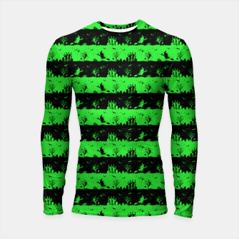 Monster Green and Black Halloween Nightmare Stripes  Longsleeve rashguard  thumbnail image