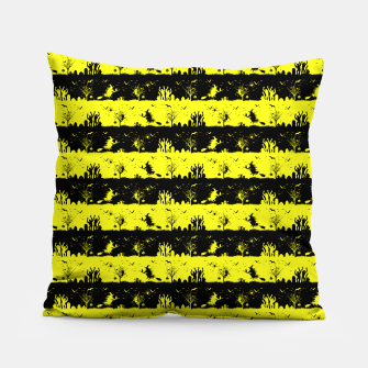 Cats Eye Yellow and Black Halloween Nightmare Stripes  Pillow thumbnail image