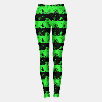 Monster Green and Black Halloween Nightmare Stripes  Leggings thumbnail image