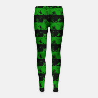 Alien Green and Black Halloween Nightmare Stripes  Girl's leggings thumbnail image