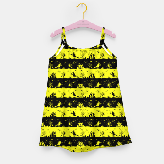 Cats Eye Yellow and Black Halloween Nightmare Stripes  Girl's dress thumbnail image