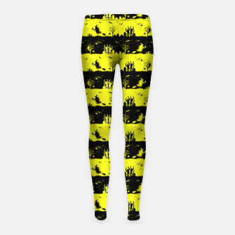 Miniatur Cats Eye Yellow and Black Halloween Nightmare Stripes  Girl's leggings, Live Heroes