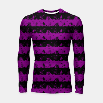 Thumbnail image of Zombie Purple and Black Halloween Nightmare Stripes  Longsleeve rashguard , Live Heroes