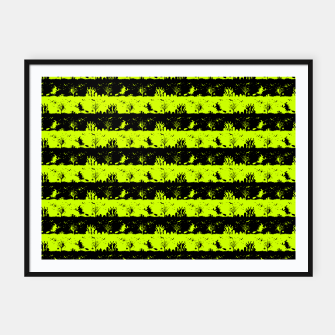 Thumbnail image of Slime Green and Black Halloween Nightmare Stripes  Framed poster, Live Heroes