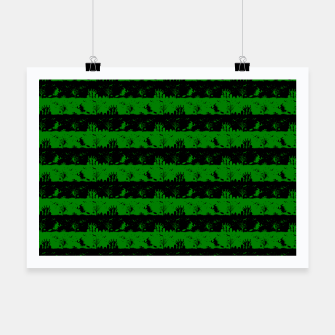 Alien Green and Black Halloween Nightmare Stripes  Poster thumbnail image
