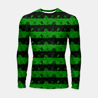 Alien Green and Black Halloween Nightmare Stripes  Longsleeve rashguard  thumbnail image