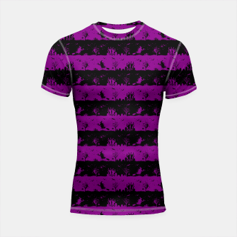 Thumbnail image of Zombie Purple and Black Halloween Nightmare Stripes  Shortsleeve rashguard, Live Heroes