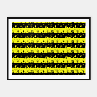 Thumbnail image of Cats Eye Yellow and Black Halloween Nightmare Stripes  Framed poster, Live Heroes