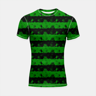 Alien Green and Black Halloween Nightmare Stripes  Shortsleeve rashguard thumbnail image