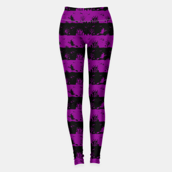 Thumbnail image of Zombie Purple and Black Halloween Nightmare Stripes  Leggings, Live Heroes
