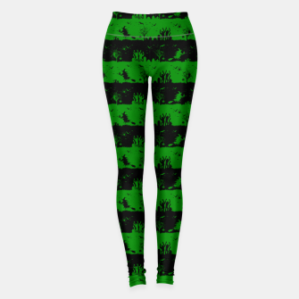 Alien Green and Black Halloween Nightmare Stripes  Leggings thumbnail image