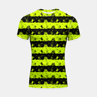 Thumbnail image of Slime Green and Black Halloween Nightmare Stripes  Shortsleeve rashguard, Live Heroes