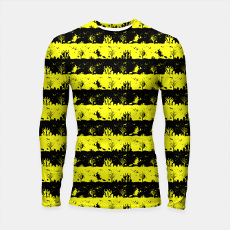 Thumbnail image of Cats Eye Yellow and Black Halloween Nightmare Stripes  Longsleeve rashguard , Live Heroes