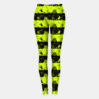 Thumbnail image of Slime Green and Black Halloween Nightmare Stripes  Leggings, Live Heroes