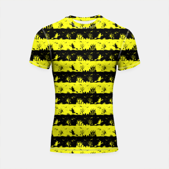 Thumbnail image of Cats Eye Yellow and Black Halloween Nightmare Stripes  Shortsleeve rashguard, Live Heroes