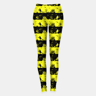 Thumbnail image of Cats Eye Yellow and Black Halloween Nightmare Stripes  Leggings, Live Heroes