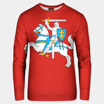 Miniatur State flag of Lithuania Knight On Red Cotton sweater, Live Heroes