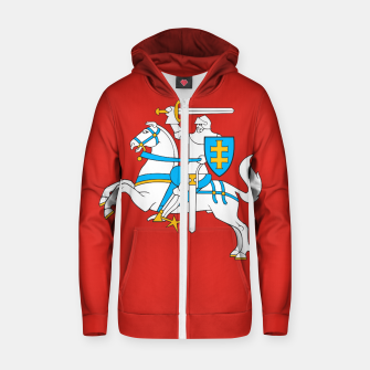 Miniatur State flag of Lithuania Knight On Red Cotton zip up hoodie, Live Heroes