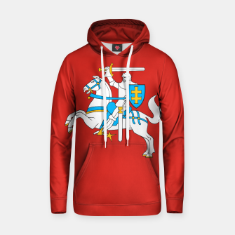Thumbnail image of State flag of Lithuania Knight On Red Cotton hoodie, Live Heroes