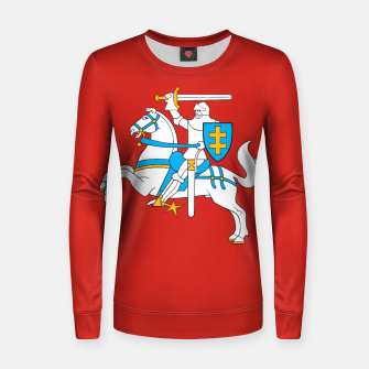 Thumbnail image of State flag of Lithuania Knight On Red Woman cotton sweater, Live Heroes