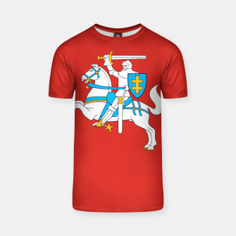 Miniatur State flag of Lithuania Knight On Red T-shirt, Live Heroes