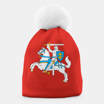 Miniatur State flag of Lithuania Knight On Red Beanie, Live Heroes