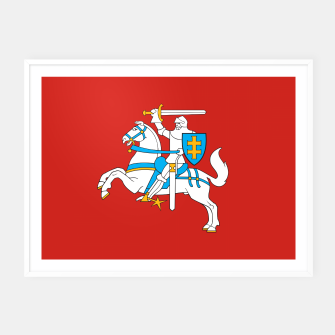 Thumbnail image of State flag of Lithuania Knight On Red Framed poster, Live Heroes